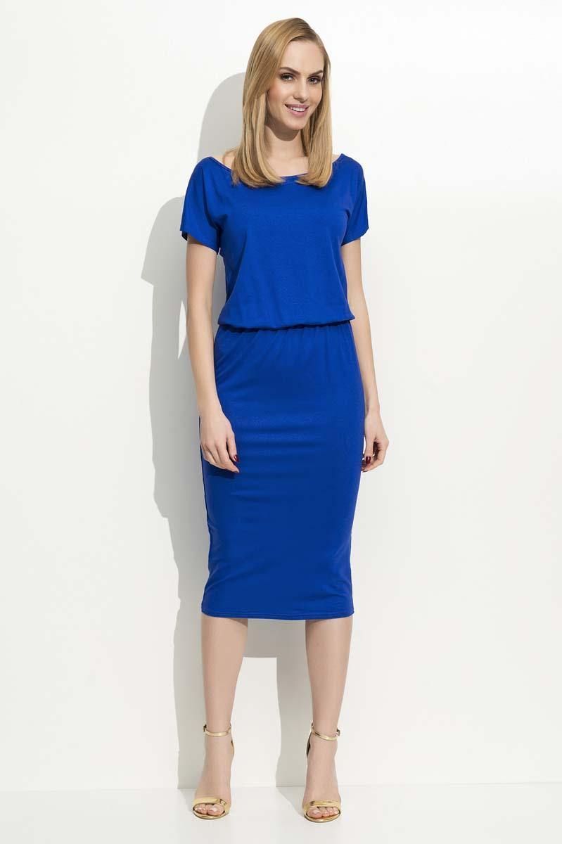 Blue Pencil Dress with Elastic Waist