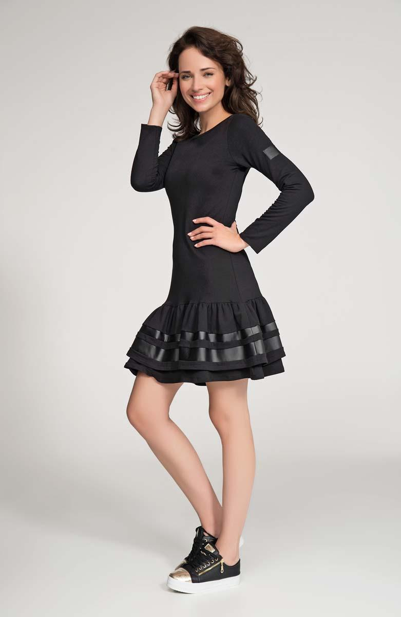 Black Mini Frilled Hem Dress