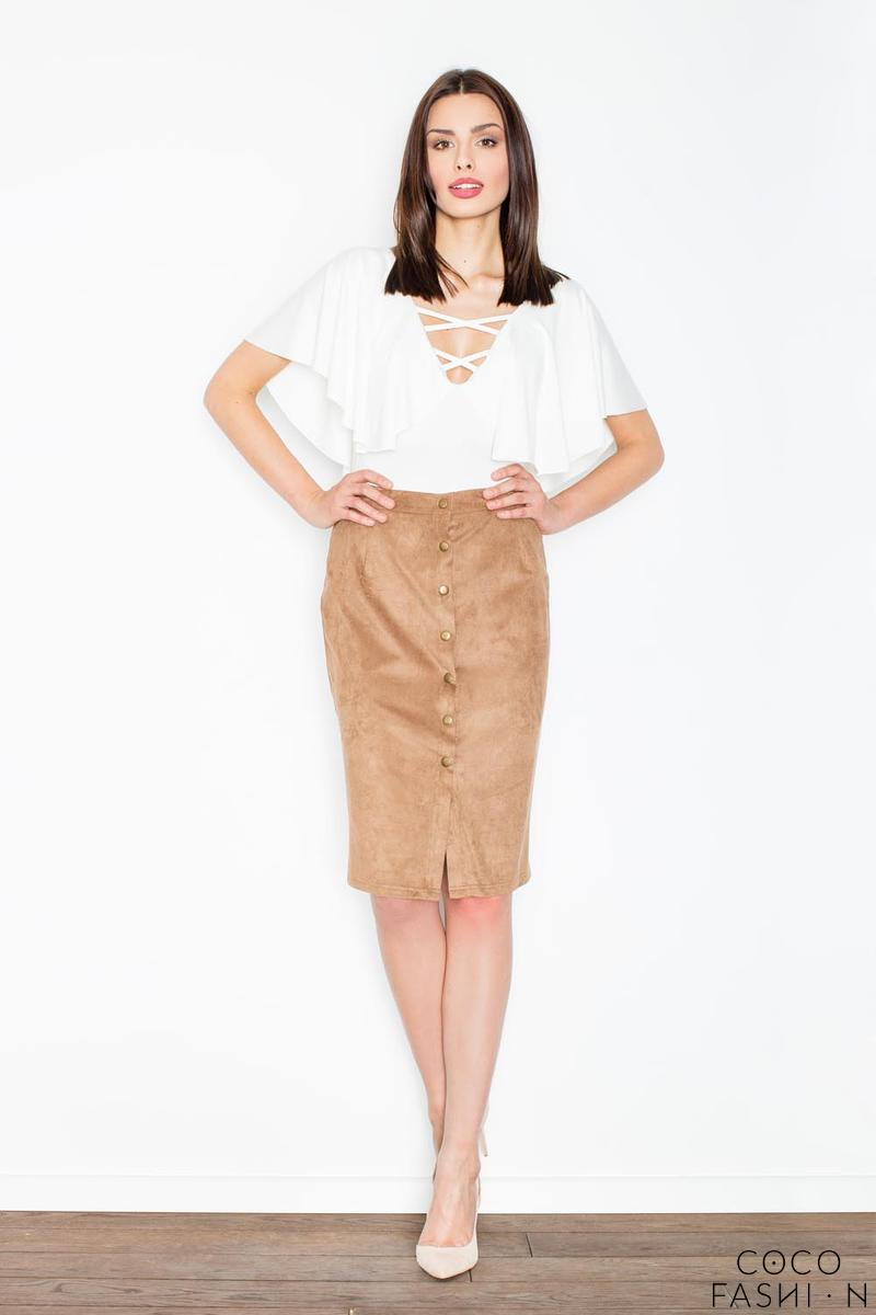 brown-snaps-closure-pencil-skirt