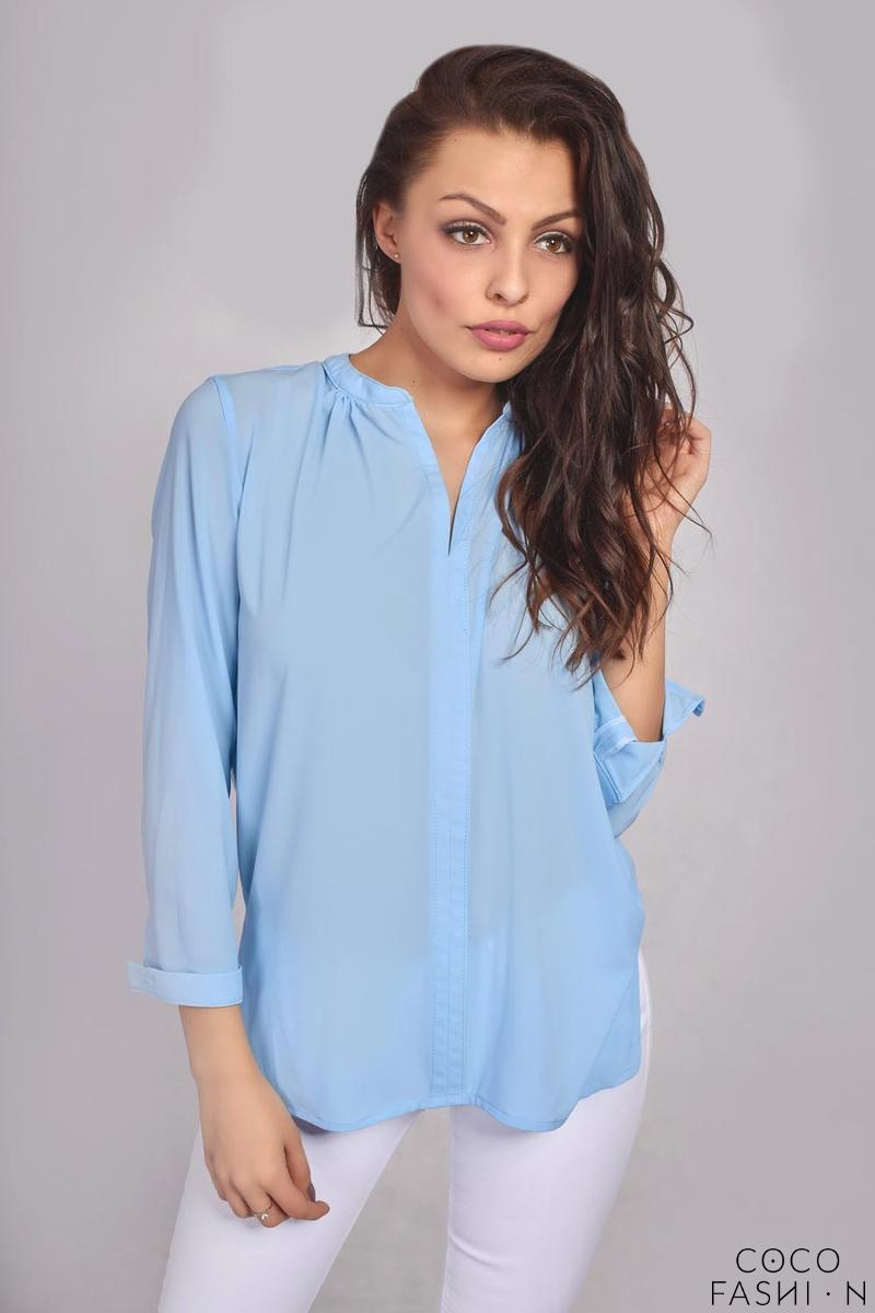 Light Blue Long Sleeves Stand-up Collar Ladies Shirt