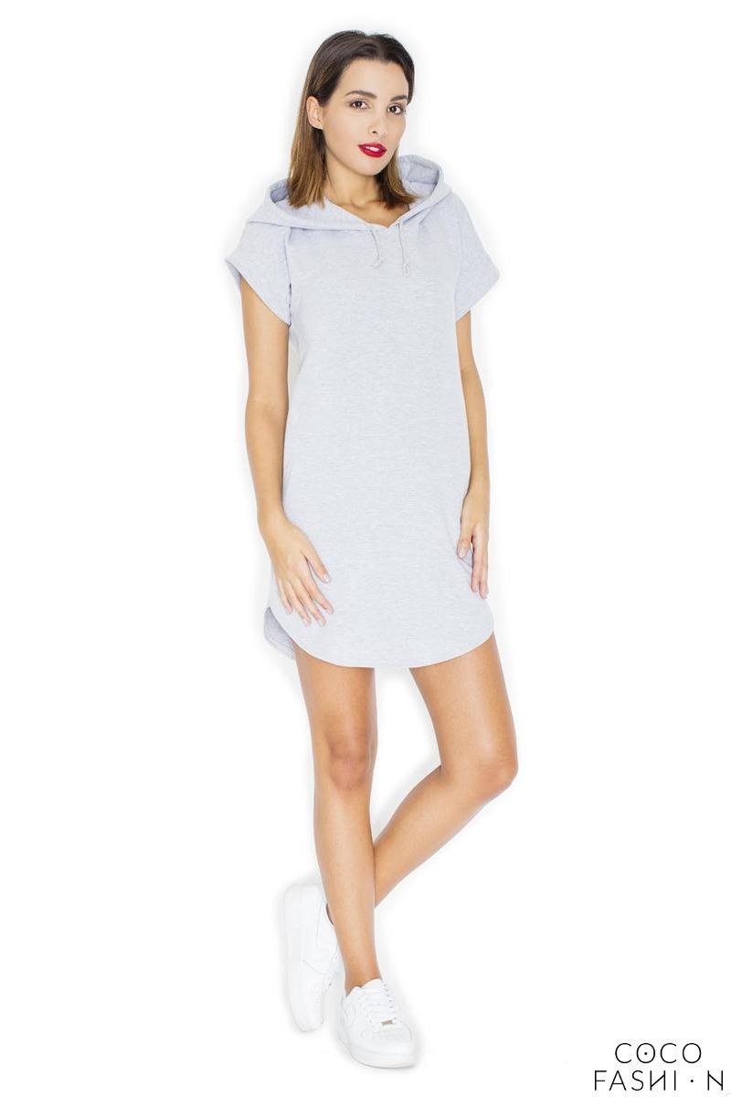 Light Grey Simple Sport Style Hooded Dress