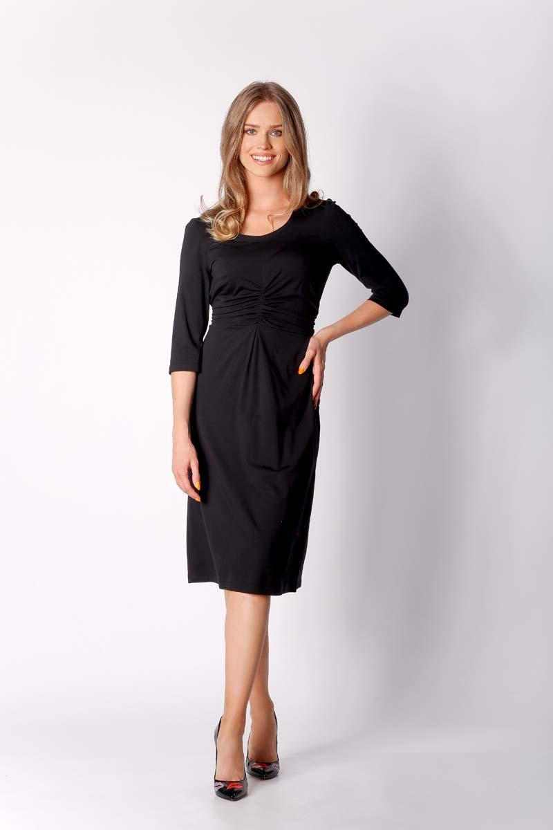 Black Knitted Dress with Drapery Elements