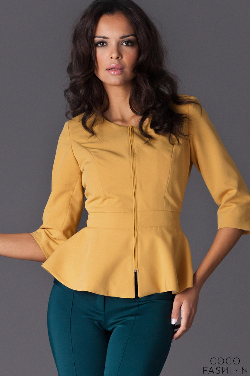 Yellow Frilled Hemline Blazer with Front Zipper Fastening