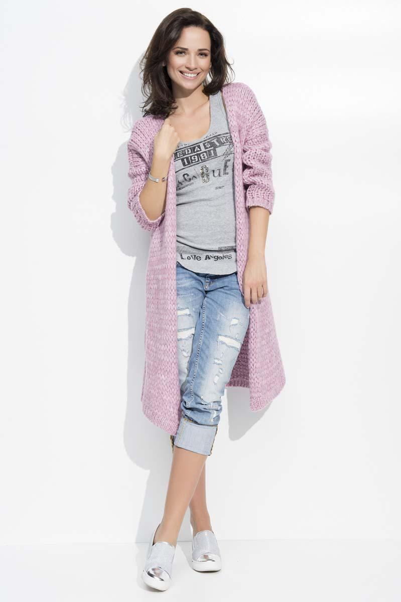 Pink Long Loose Lapels Cardigan