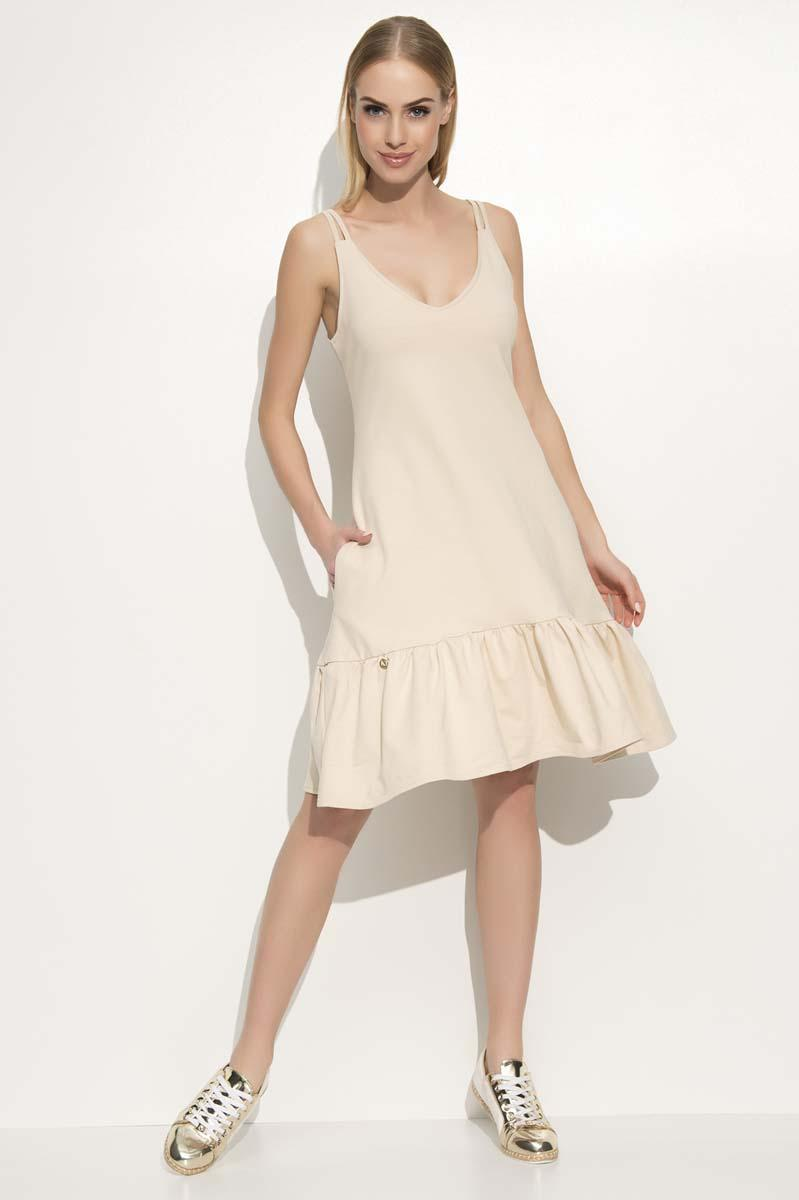 Beige Spaghetti Straps Frilled Dress
