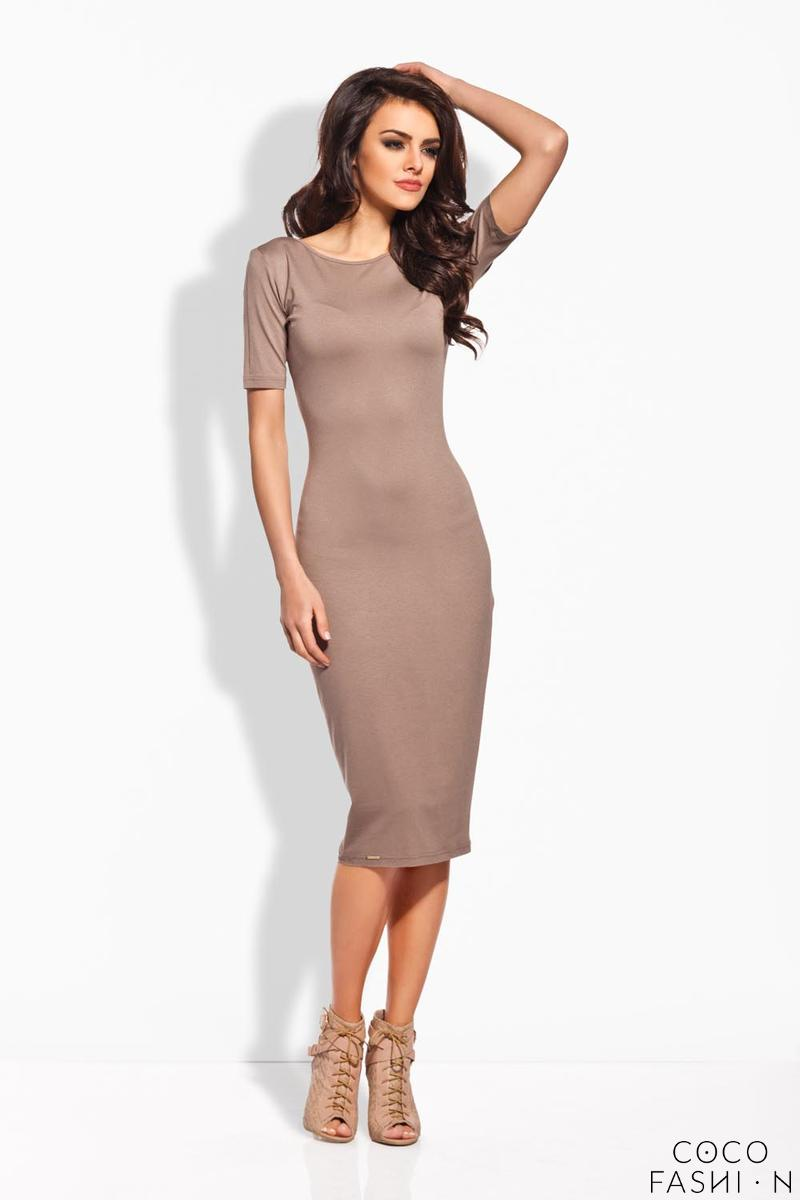 Cappuccino Bodycon Fit Short Sleeves Midi Dress