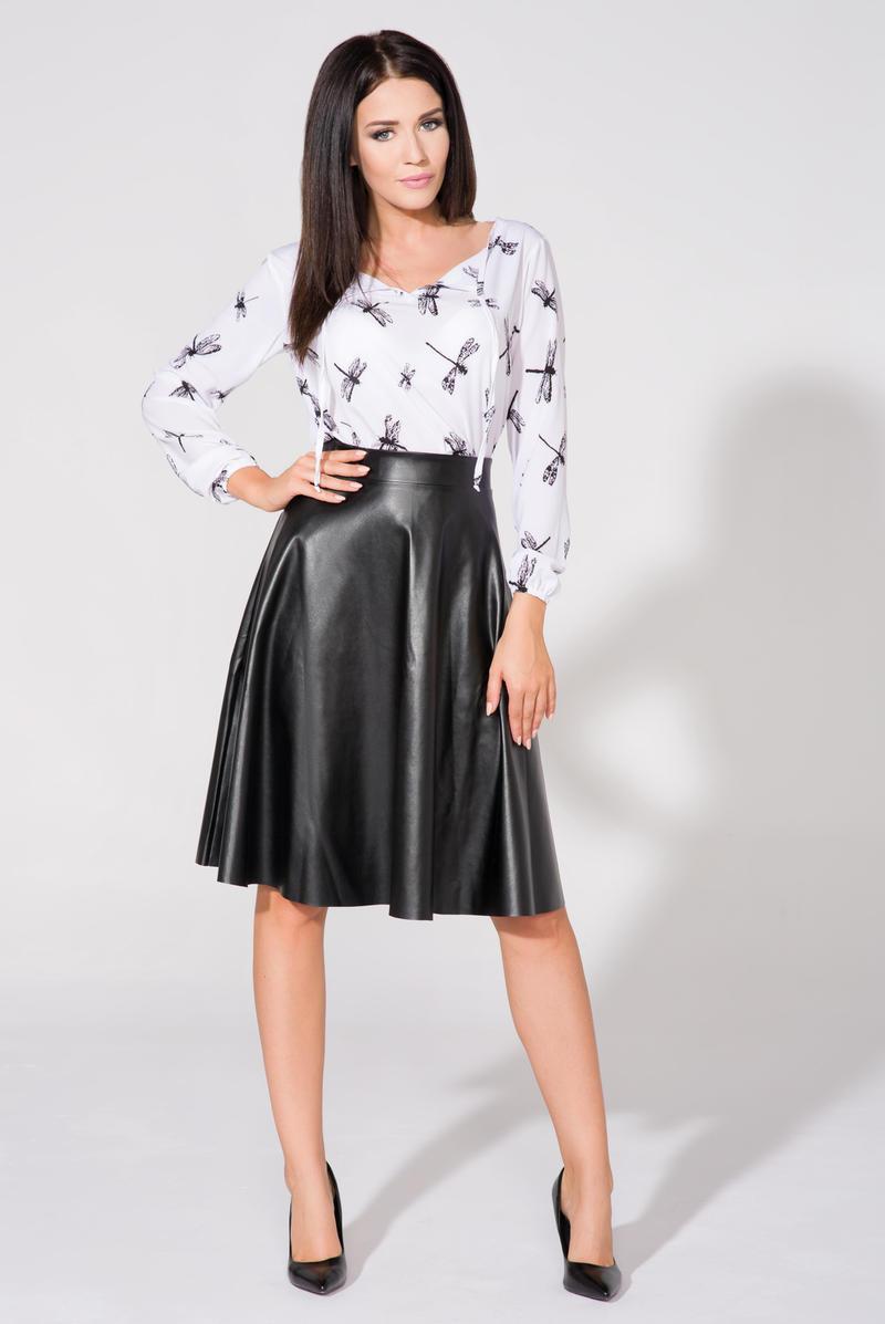 5f129f92db87 Black Flared Midi Eco-Leather Skirt