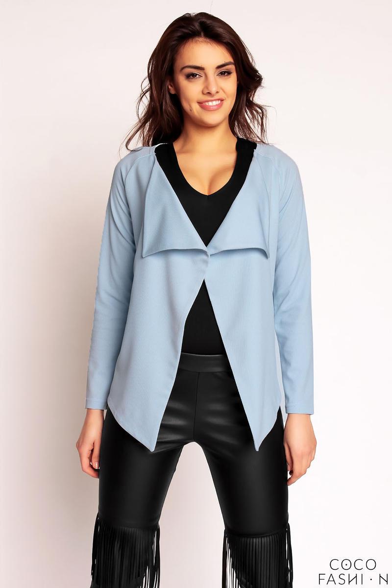 Blue Pastel Elongated Side Spring Cardi Jacket от cocofashion