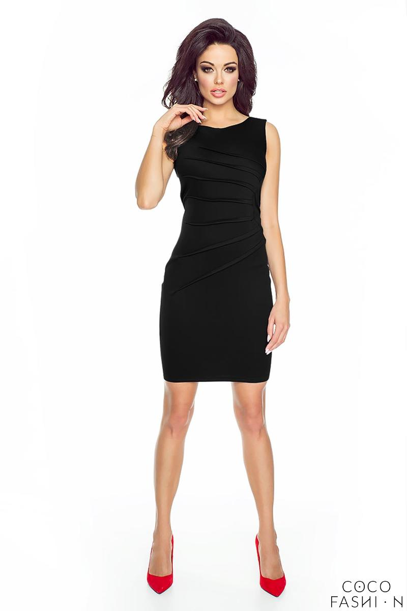 Black Classic Fitted&Wrinkled Mini Dress