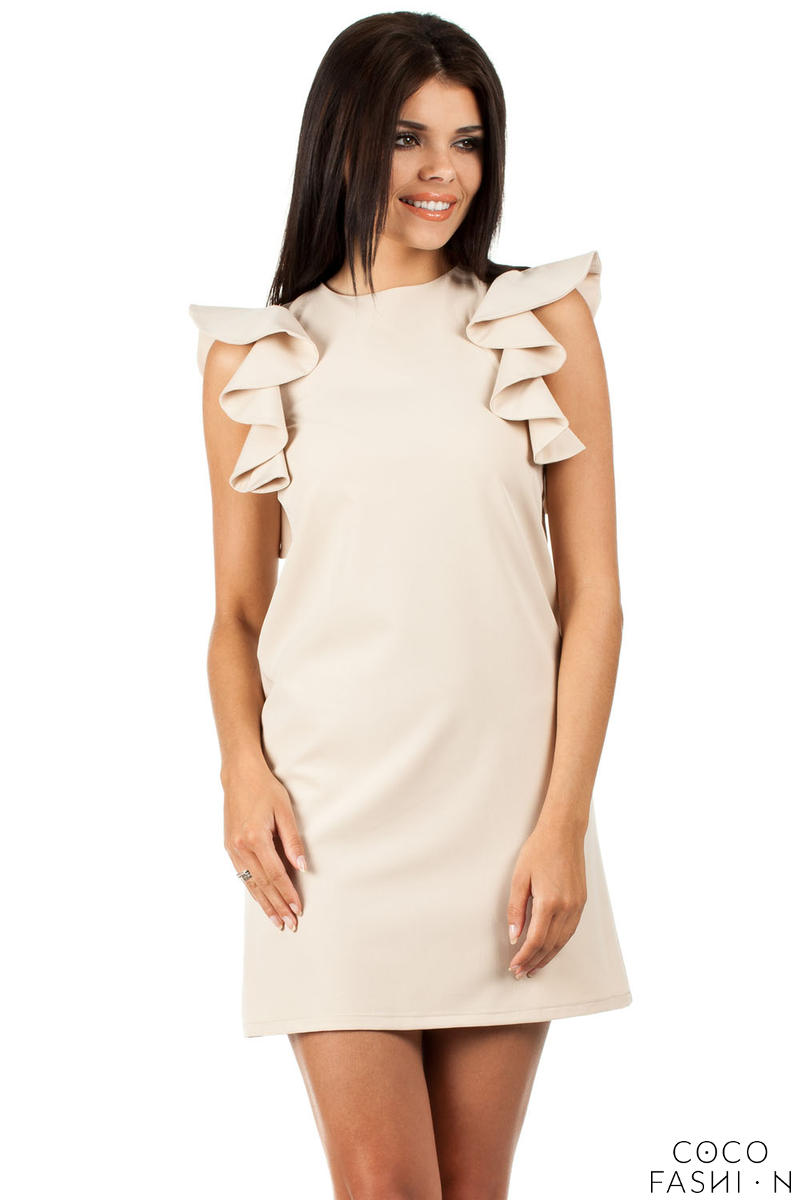 Beige High Neck Shift Dress with Waterfall Shoulders