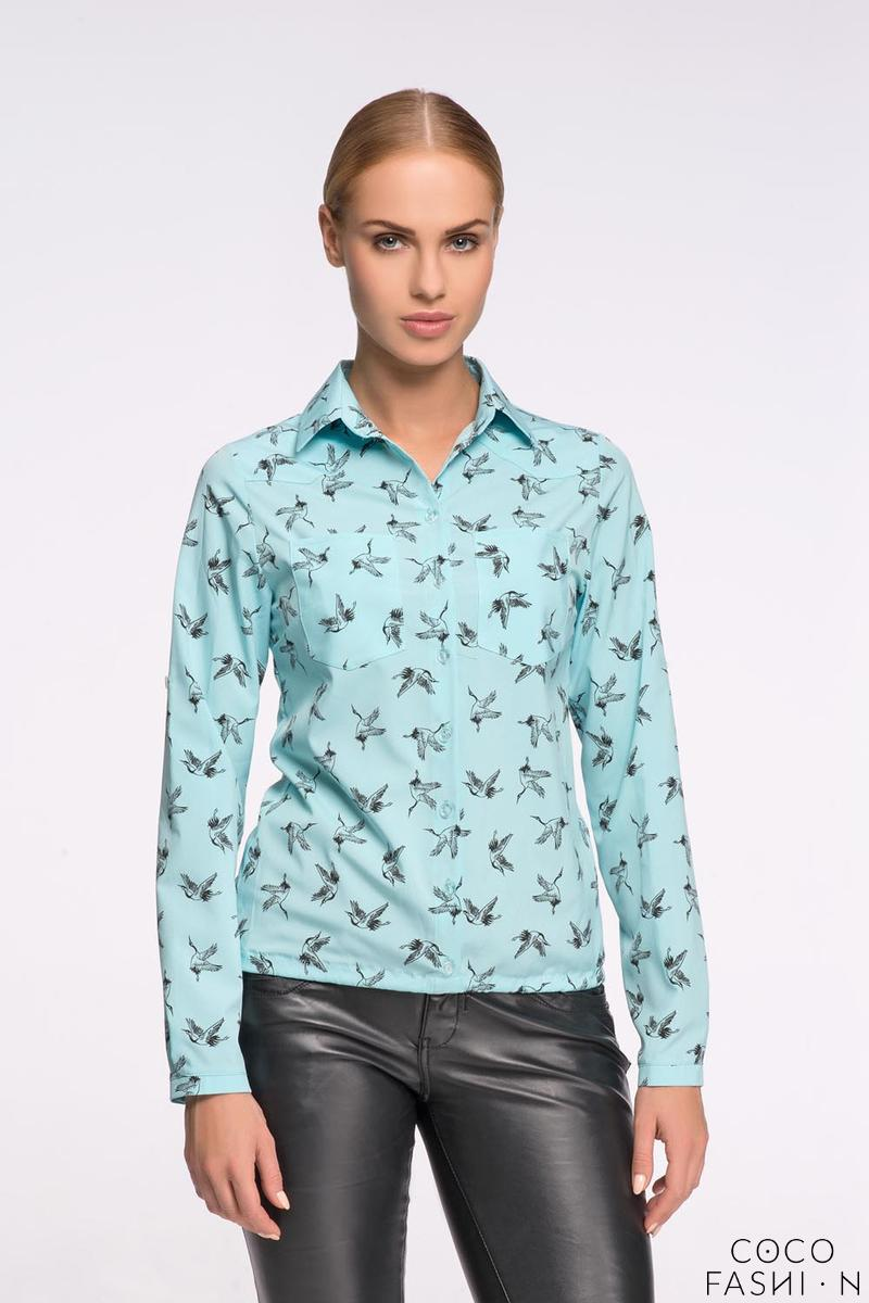 Mint Casual Ladies Shirt with Birds Pattern