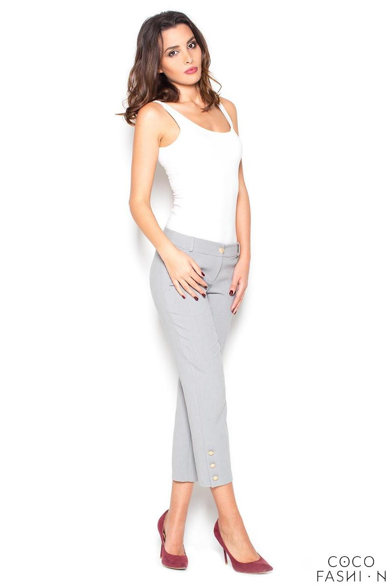 Grey 7/8 Simple Pencil Pants with Glod Buttons