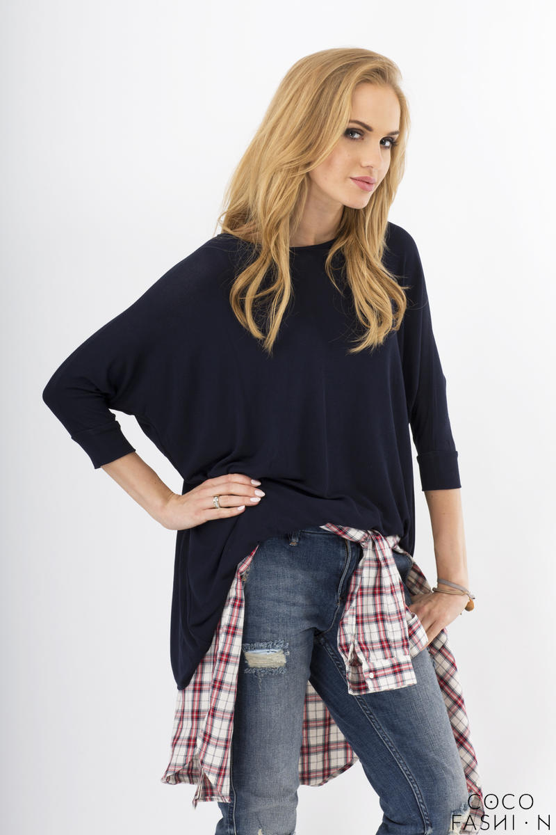 Dark Blue Oversized Bat Sleeves Blouse
