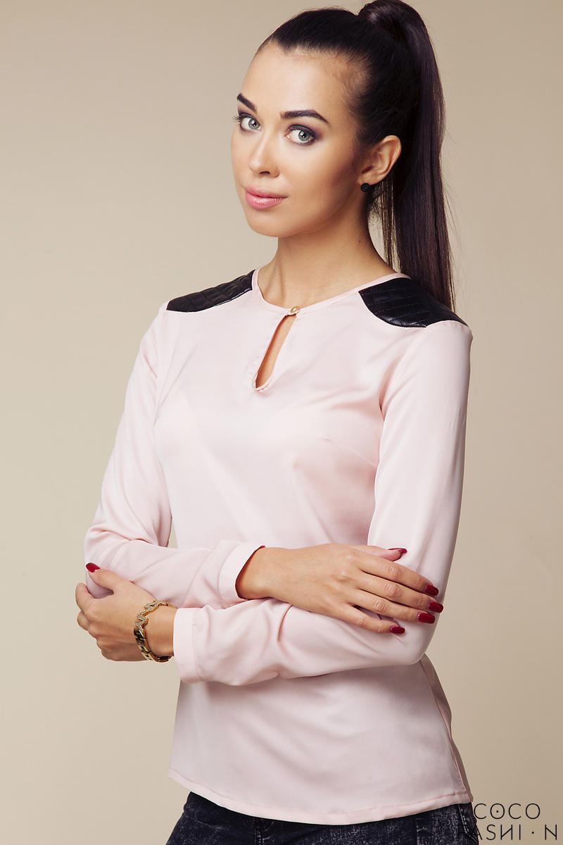 Pink Quilted Leather Shoulder Patches Blouse