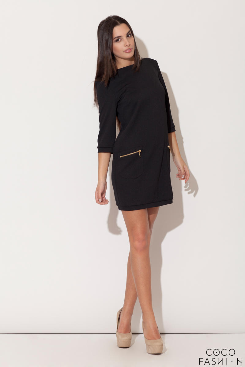 Black Modernize Kelly Inspired Mini Dress
