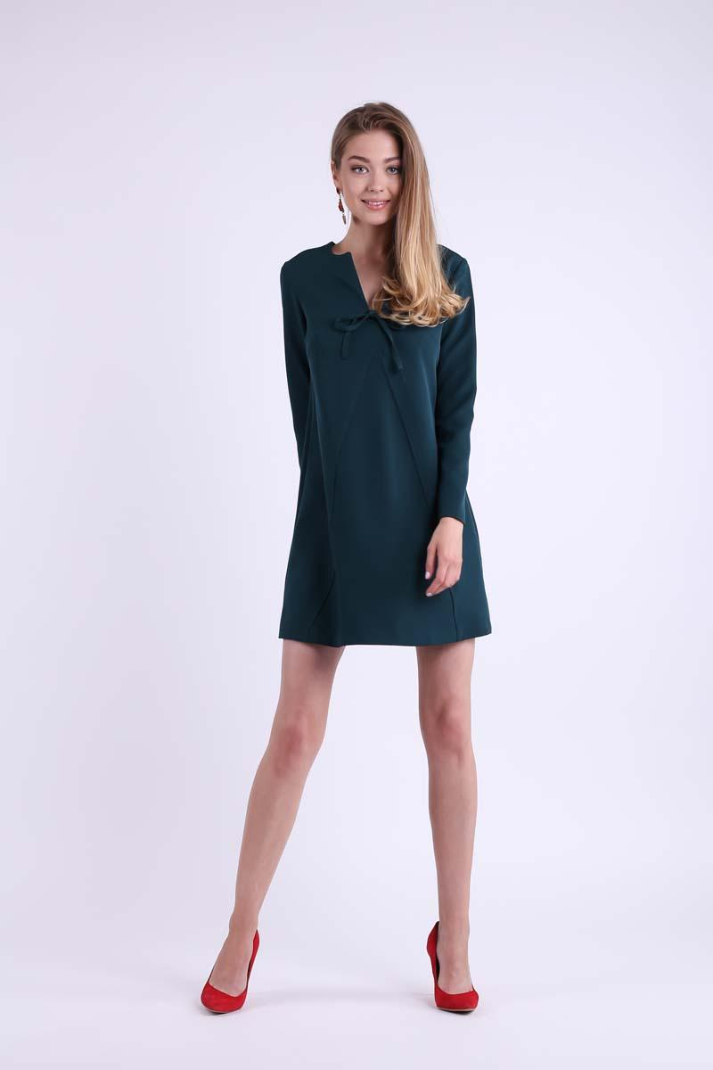 Green Trapezoidal Short Dress with Bow on the Neckline