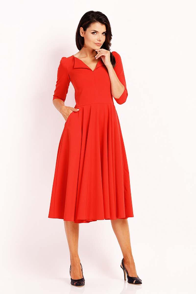 Red Dress Flared Midi With Collar
