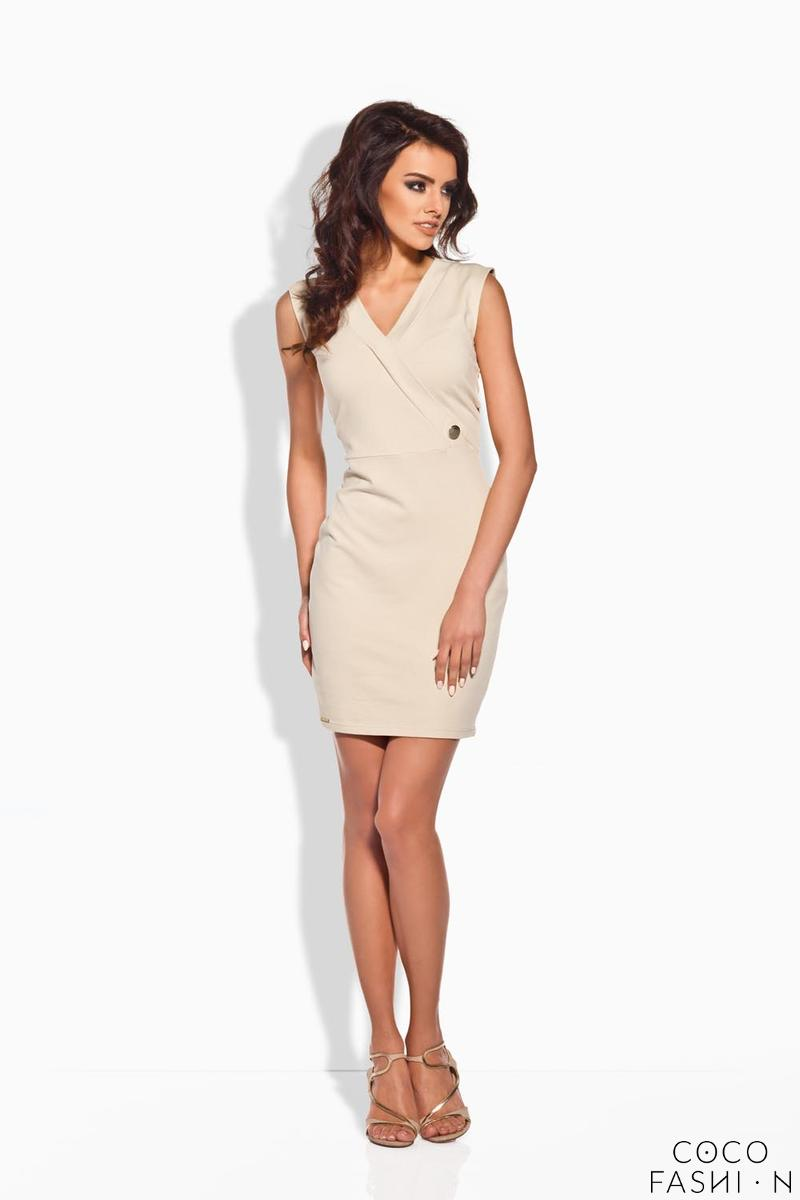 Beige Bodycon FIt V-Neckline Mini Dress