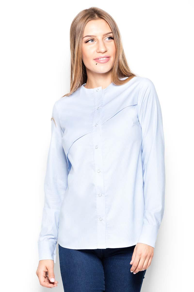 Light Blue Round Neckline Ladies Shirt