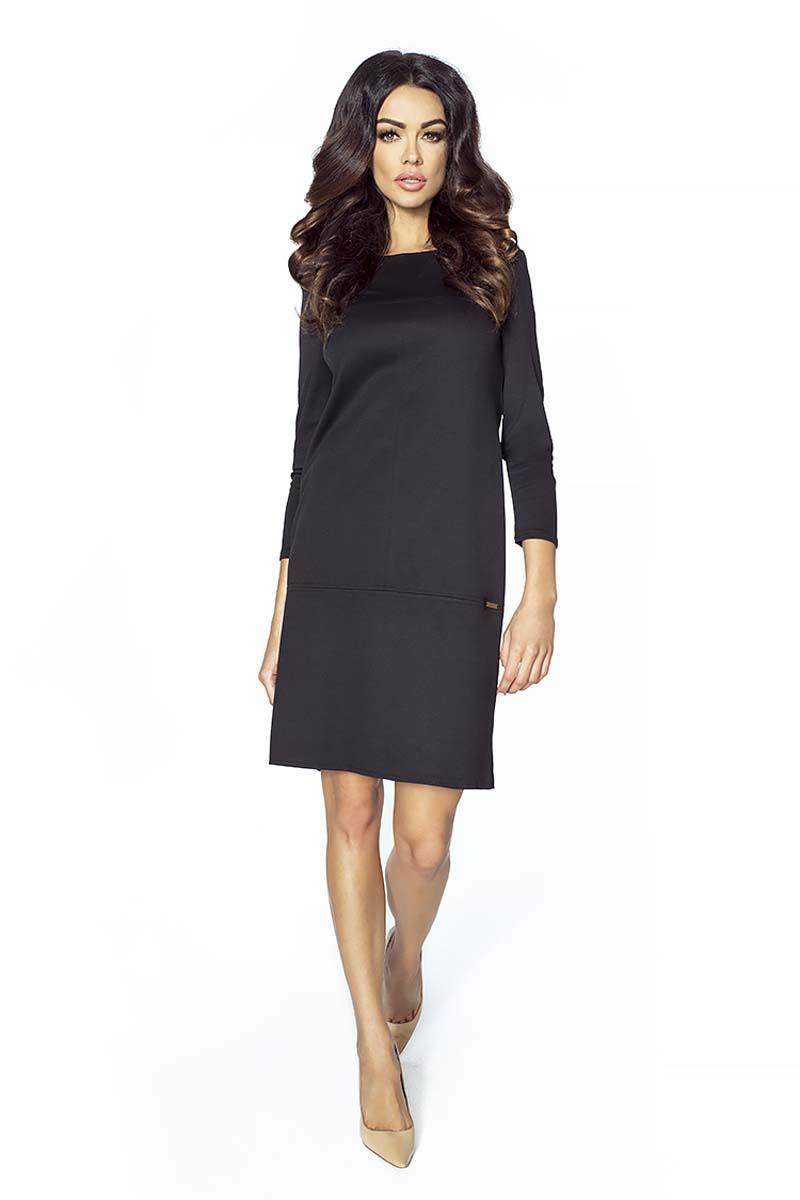 black-simple-34-sleeves-dress