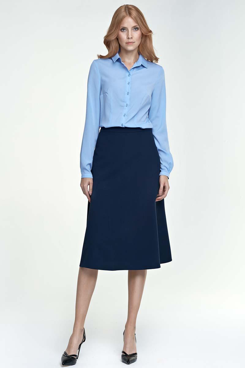 Dark Blue Flared Stylish Midi Skirt