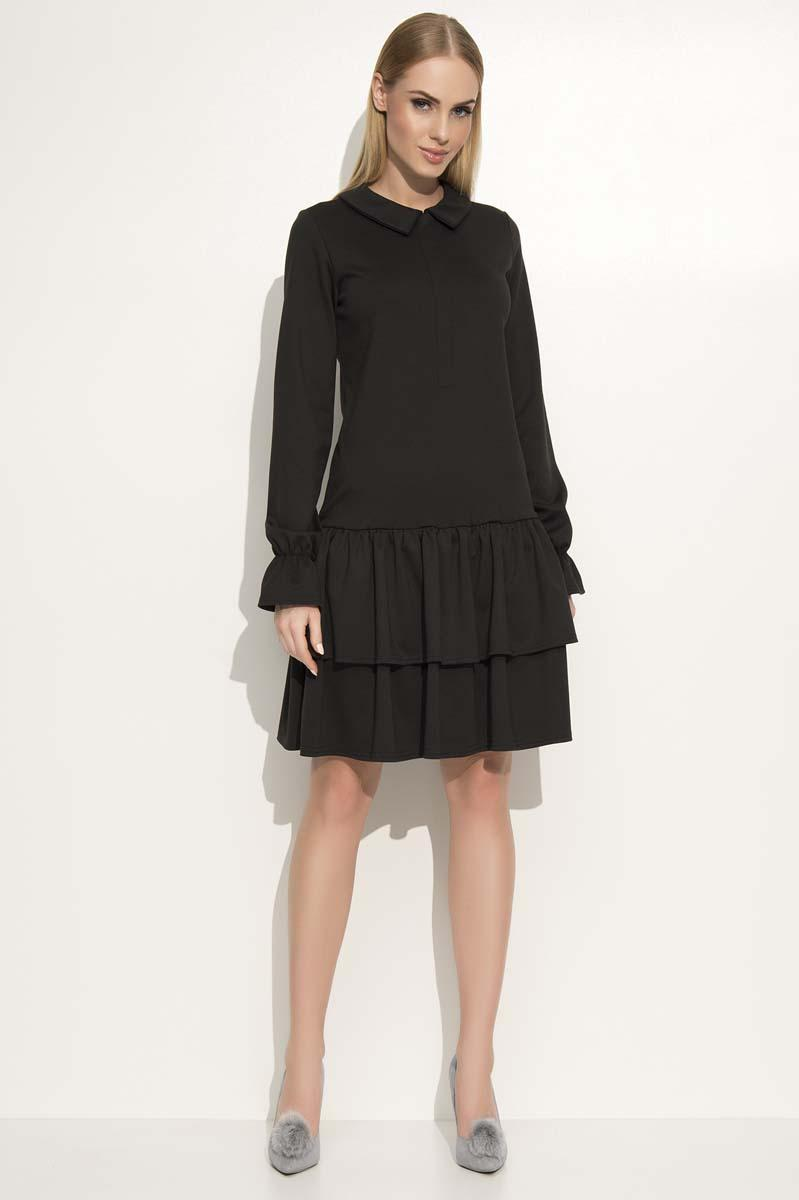 Black Dress with Collar&Frills