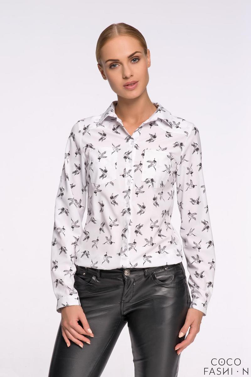 White Casual Ladies Shirt with Birds Pattern от cocofashion
