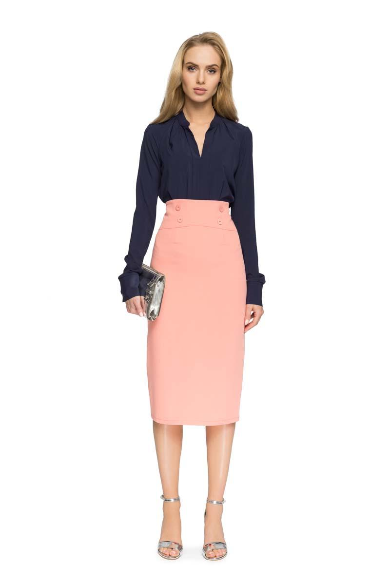 Salmon Midi Pencil Skirt High Waist