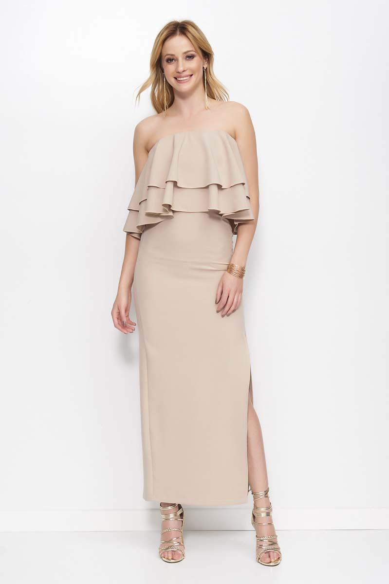 Beige Maxi Off Shoulders Dress with Frills