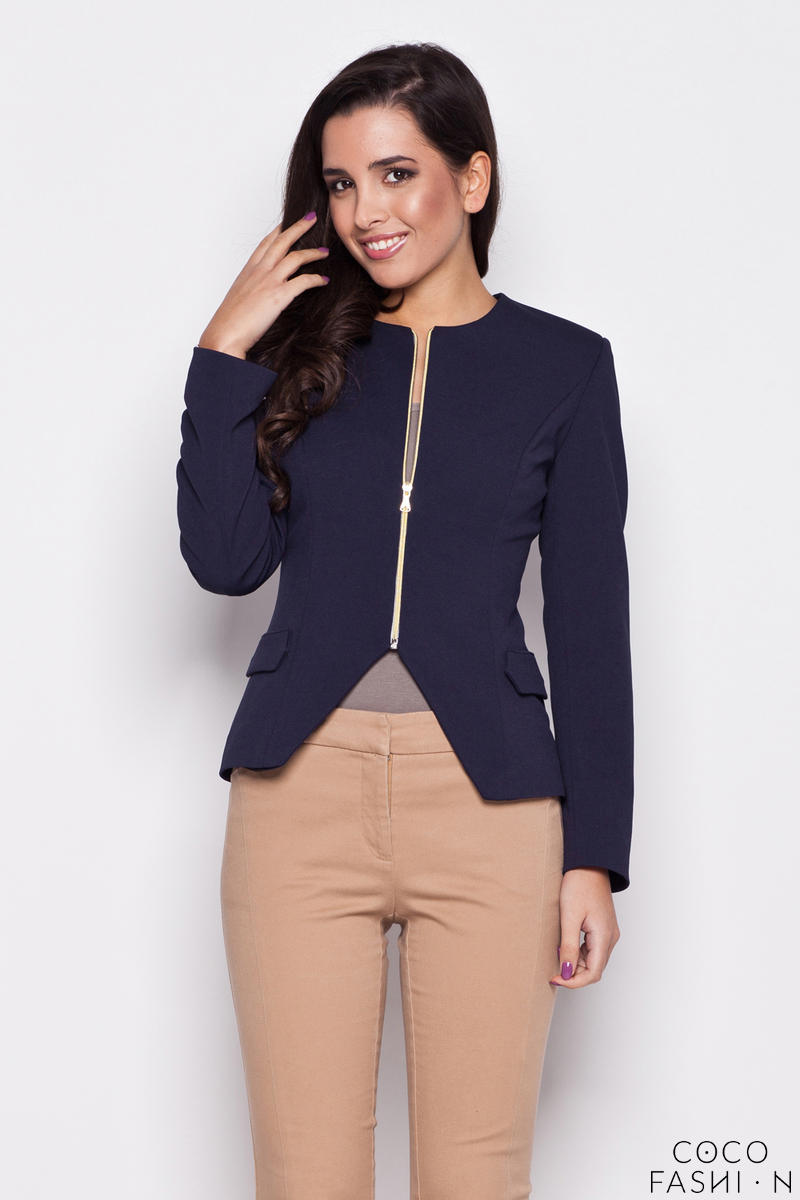 Seam Navy Blue Blazer with Slit Neckline and Semi Zip Fastening