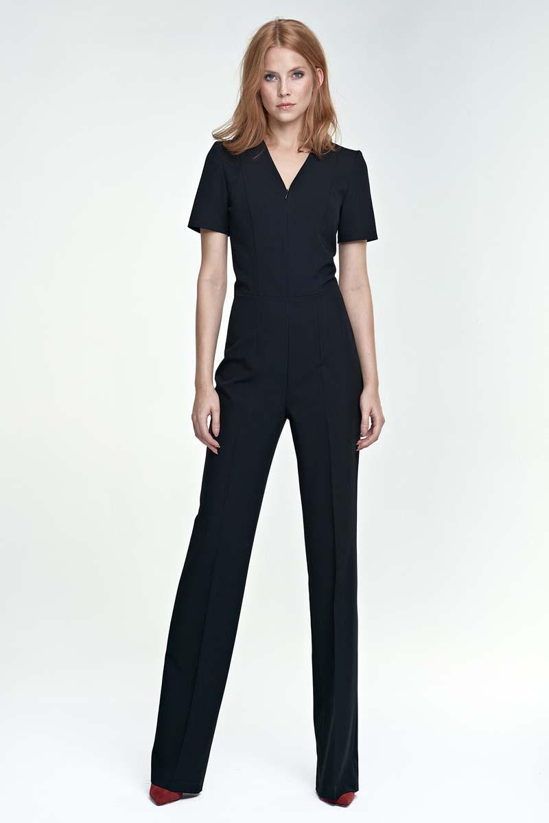 Black Elegant Short Sleeves Jumpsuit