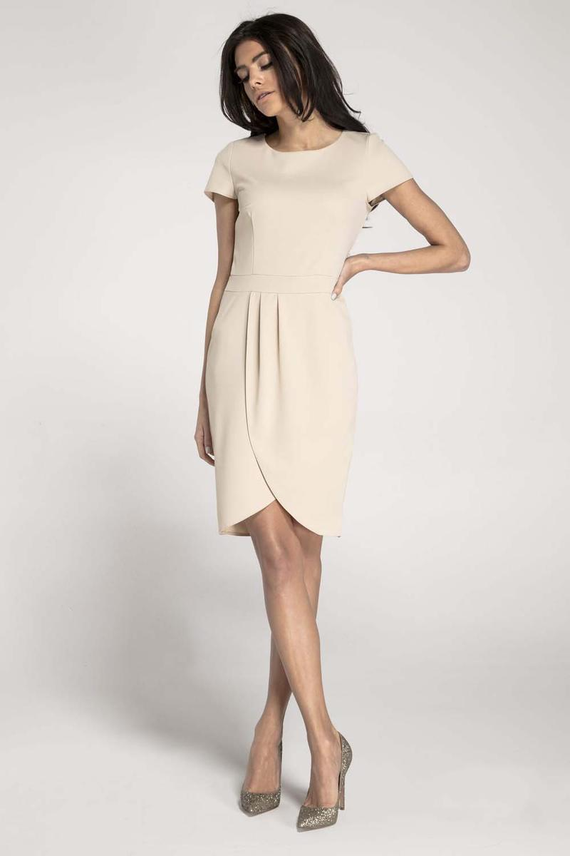 Beige Classic Short Sleeves Dress