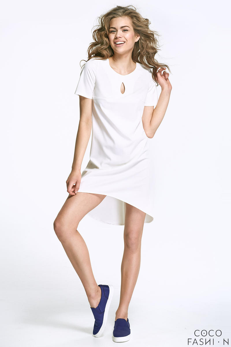 Ecru Dipped Hem Dress with Cut Out Neckline