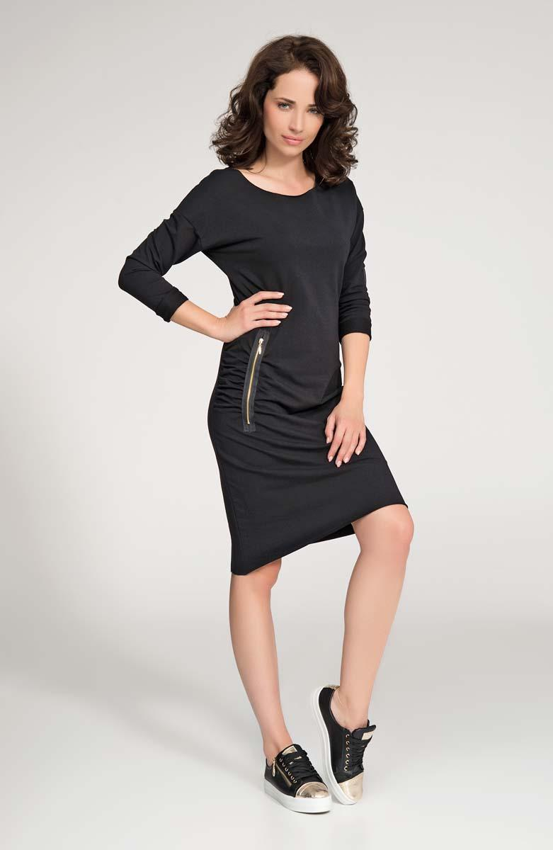 Black Casual Dress with Zippers