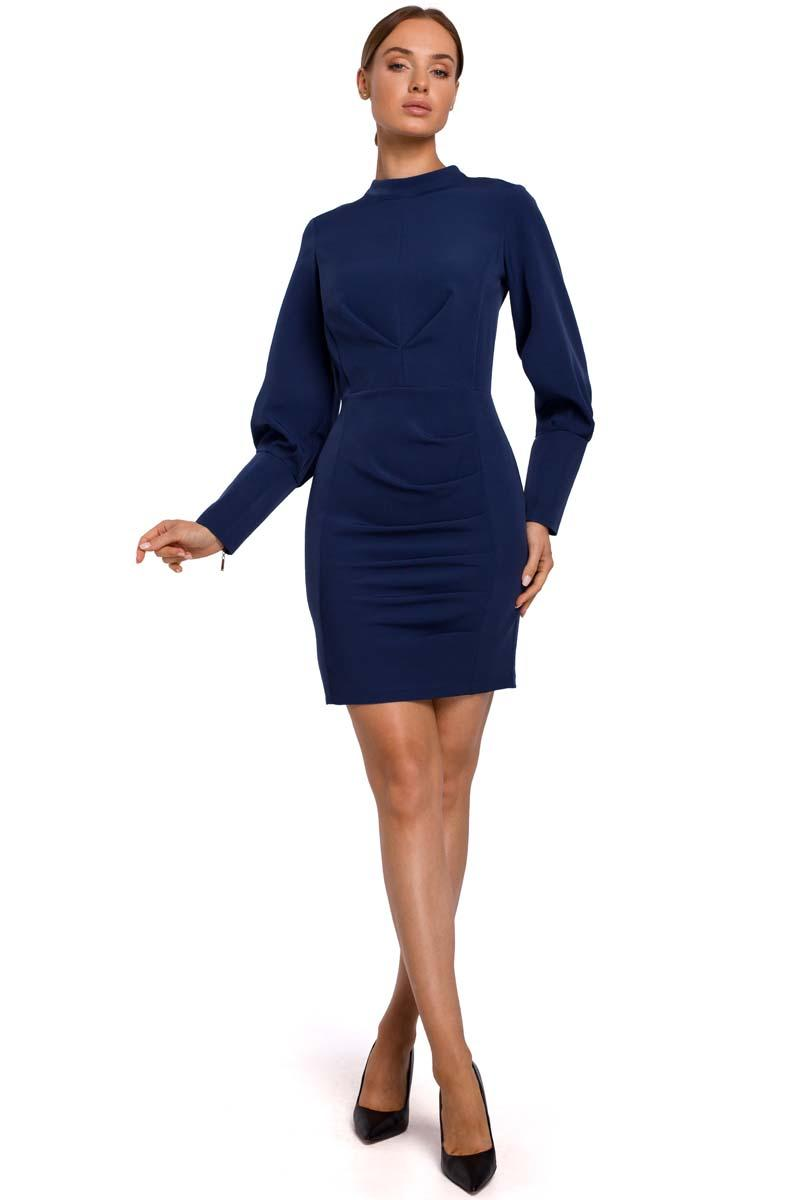 Fitted Mini Dress with Pleats (Navy Blue)