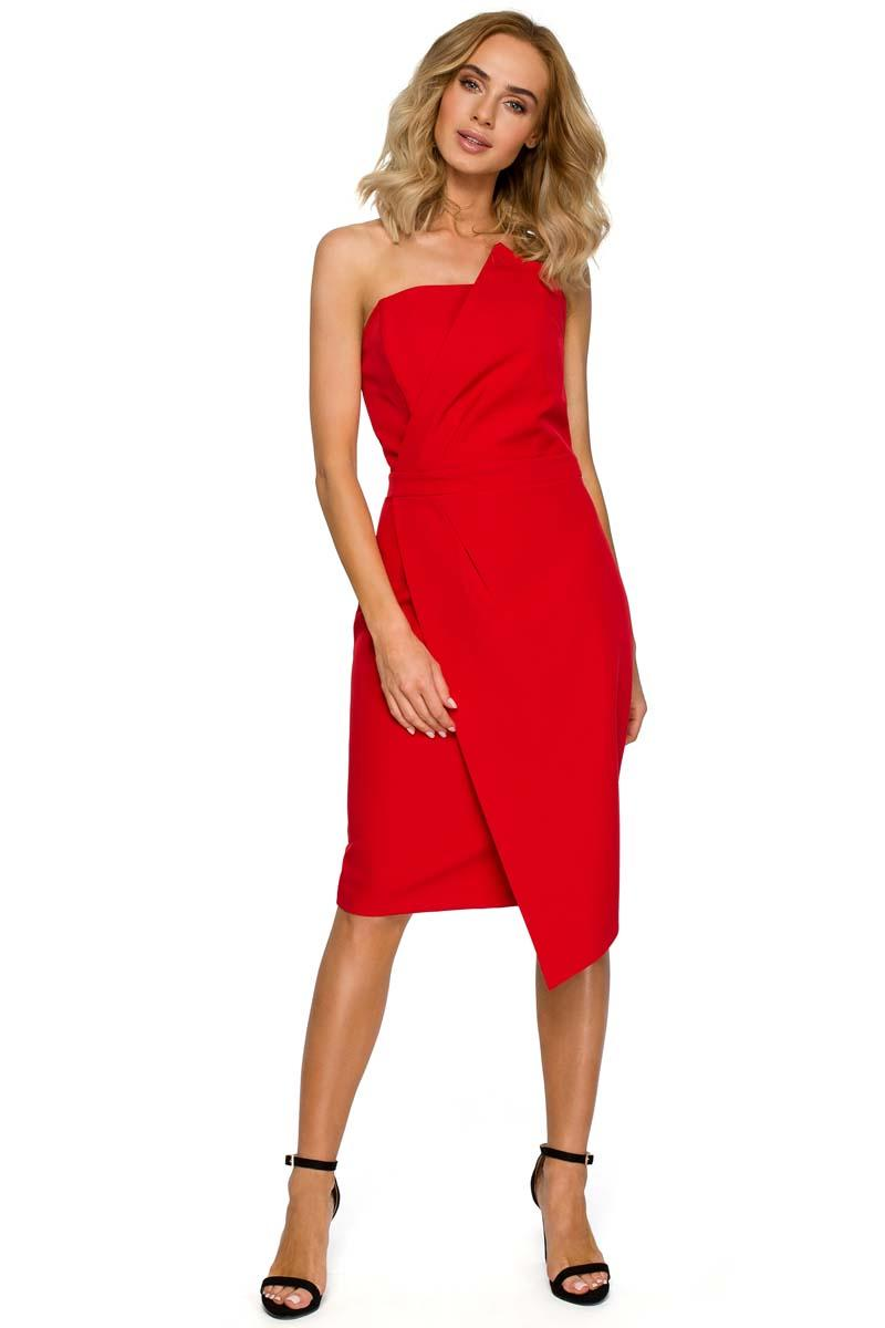 Red Asymmetrical Sleeveless Evening Dress
