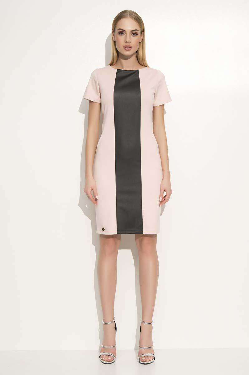 Black&Pink Elegant Dress with Slimming Leather Stripe