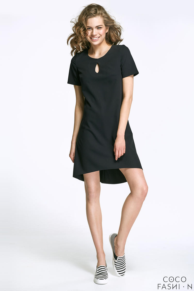 Black Dipped Hem Dress with Cut Out Neckline