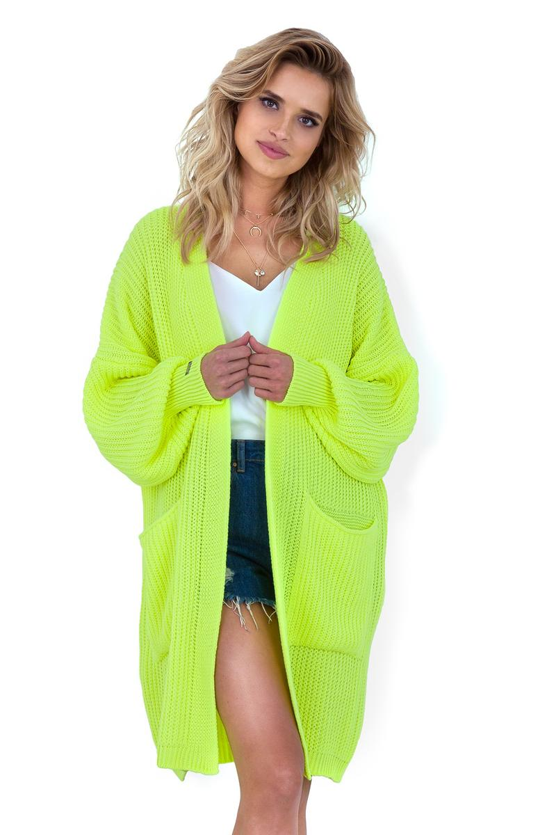 Lime Long Unfastened Puffed Cardigan