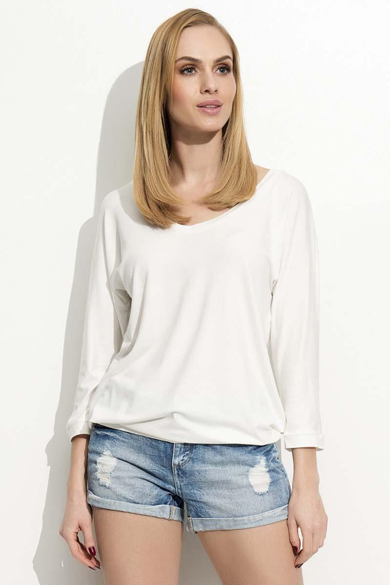 White 3/4 Sleeves Simple Blouse