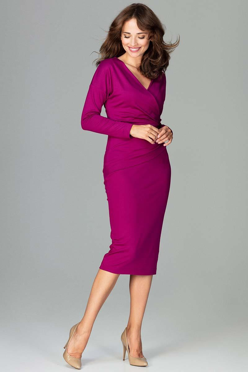 Fuchsia Wrap Front Pencil Dress