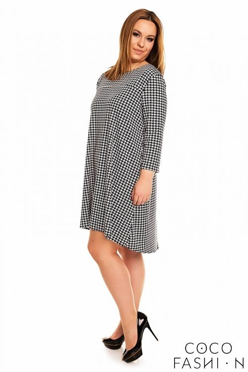 Houndstooth 3/4 Sleeves Swing Dress PLUS SIZE