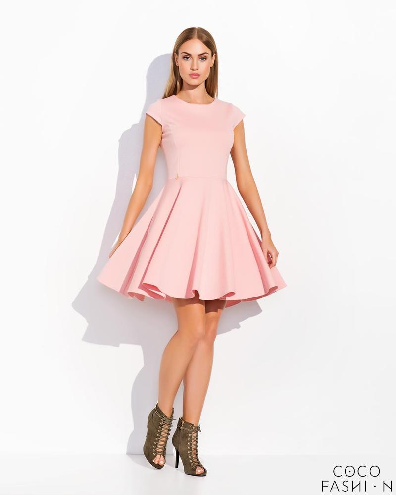 Pink Flared Light Pleats Coctail Dress