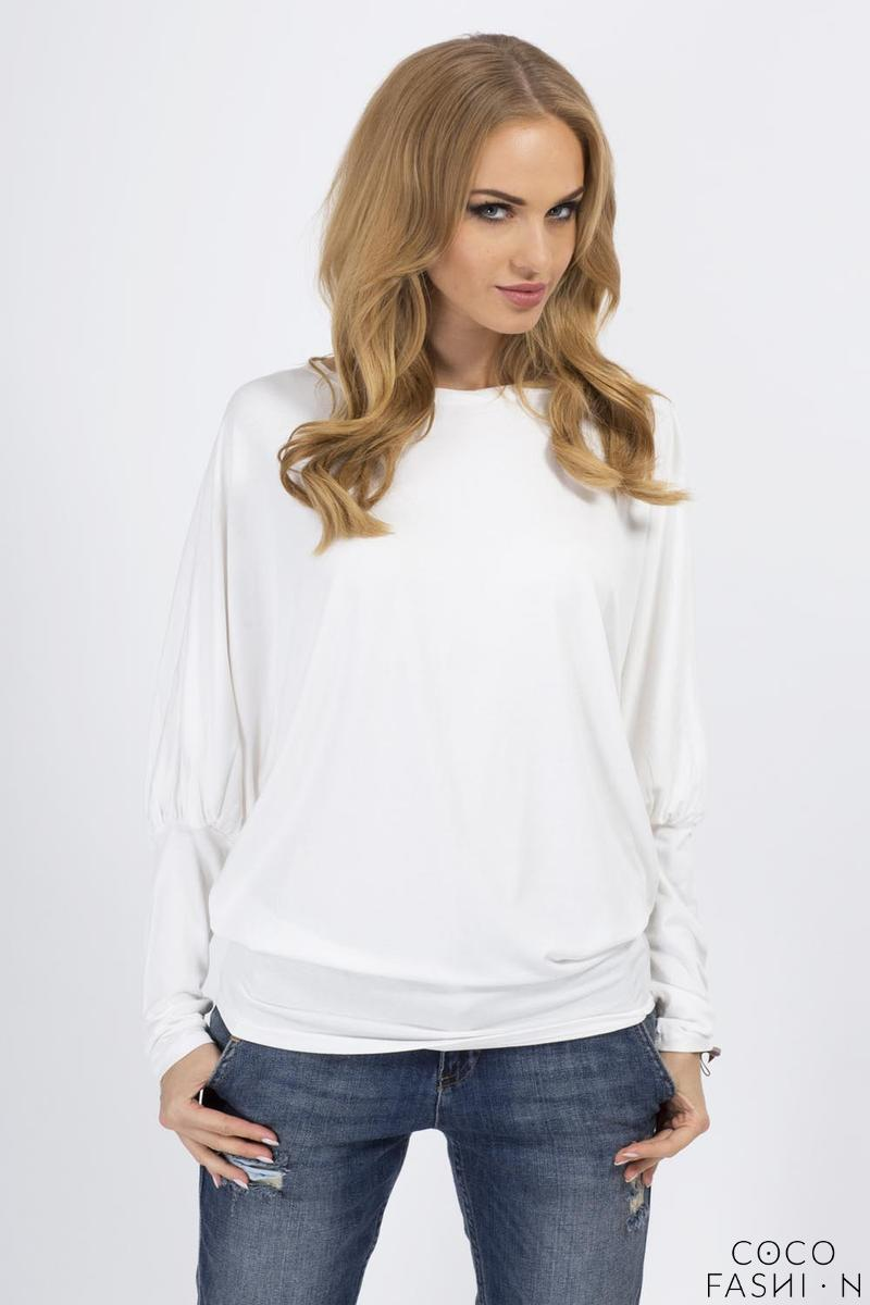 Ecru Casual Long Bat Sleeves Blouse