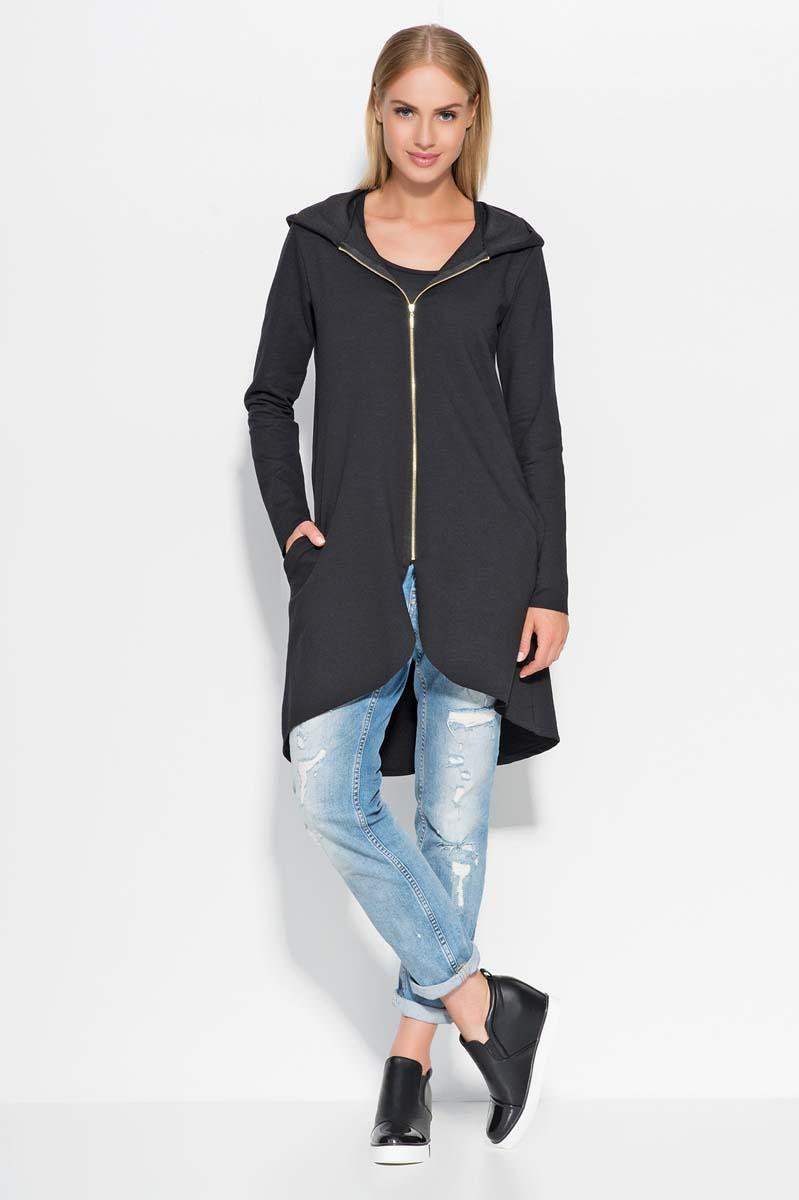 Black Dipped Hem Full Zip Hoodie
