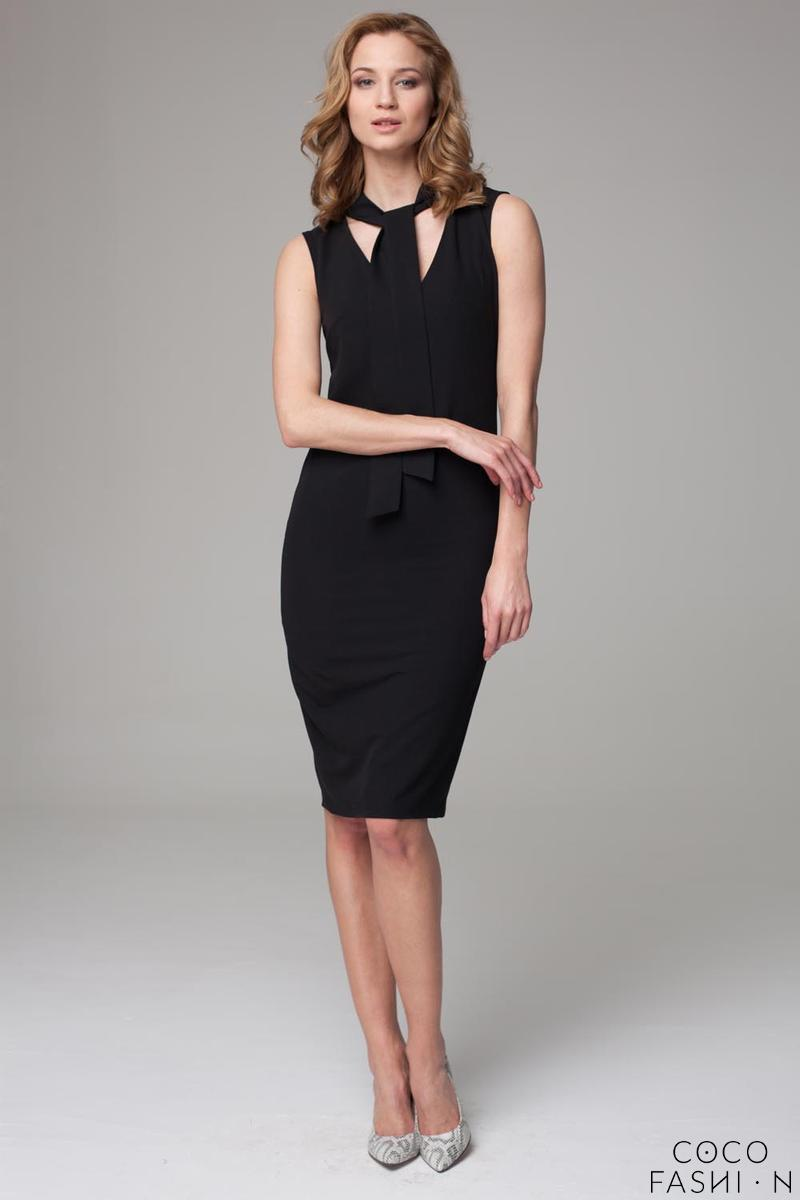Black Slim Fit Midi Dress with Self Tie Scarf