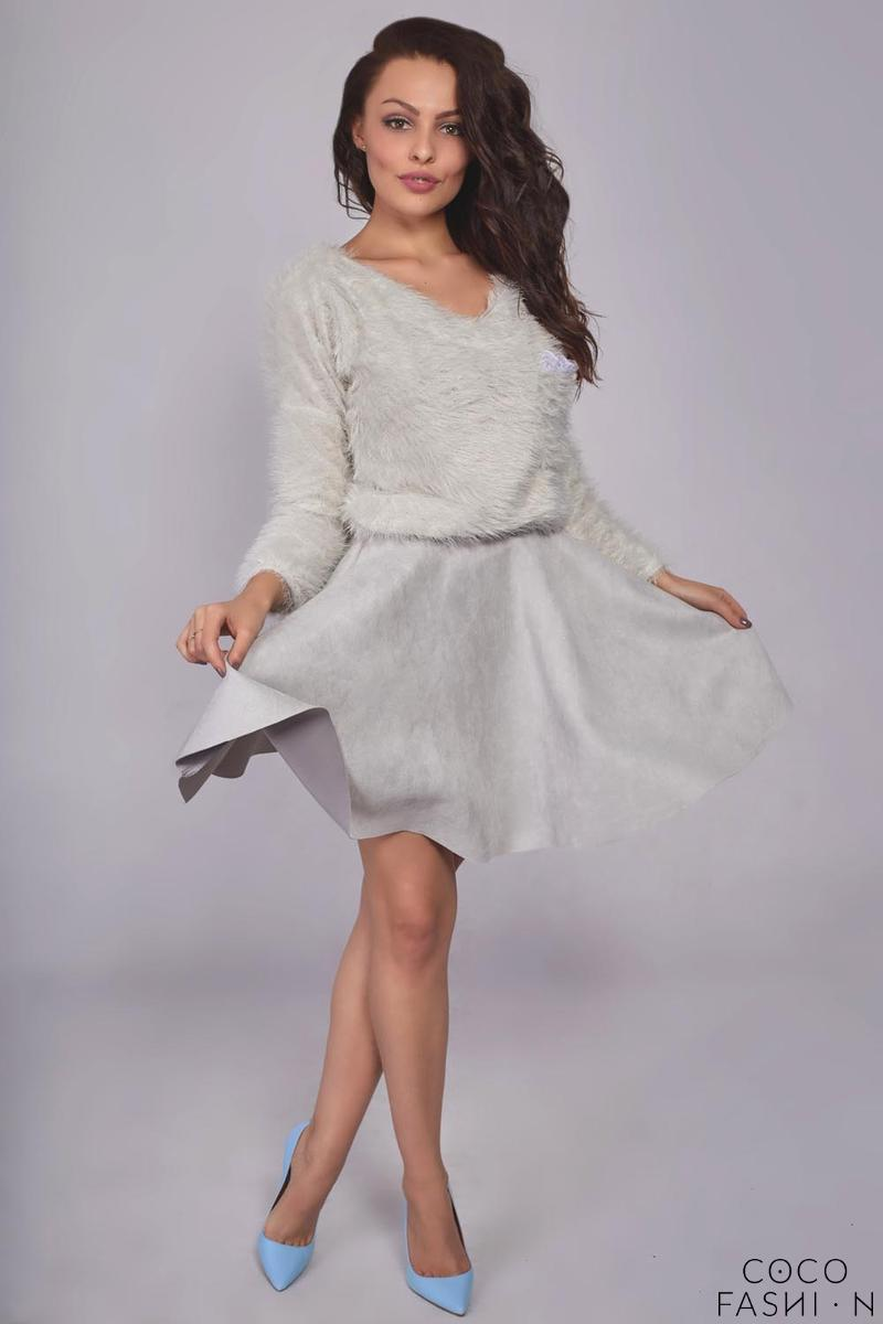 Grey Flared Synthetic Suede Dress with Pockets