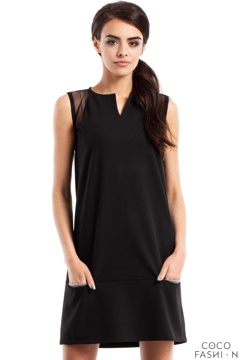 Black Sleeveless Transparent Details Mini Dress