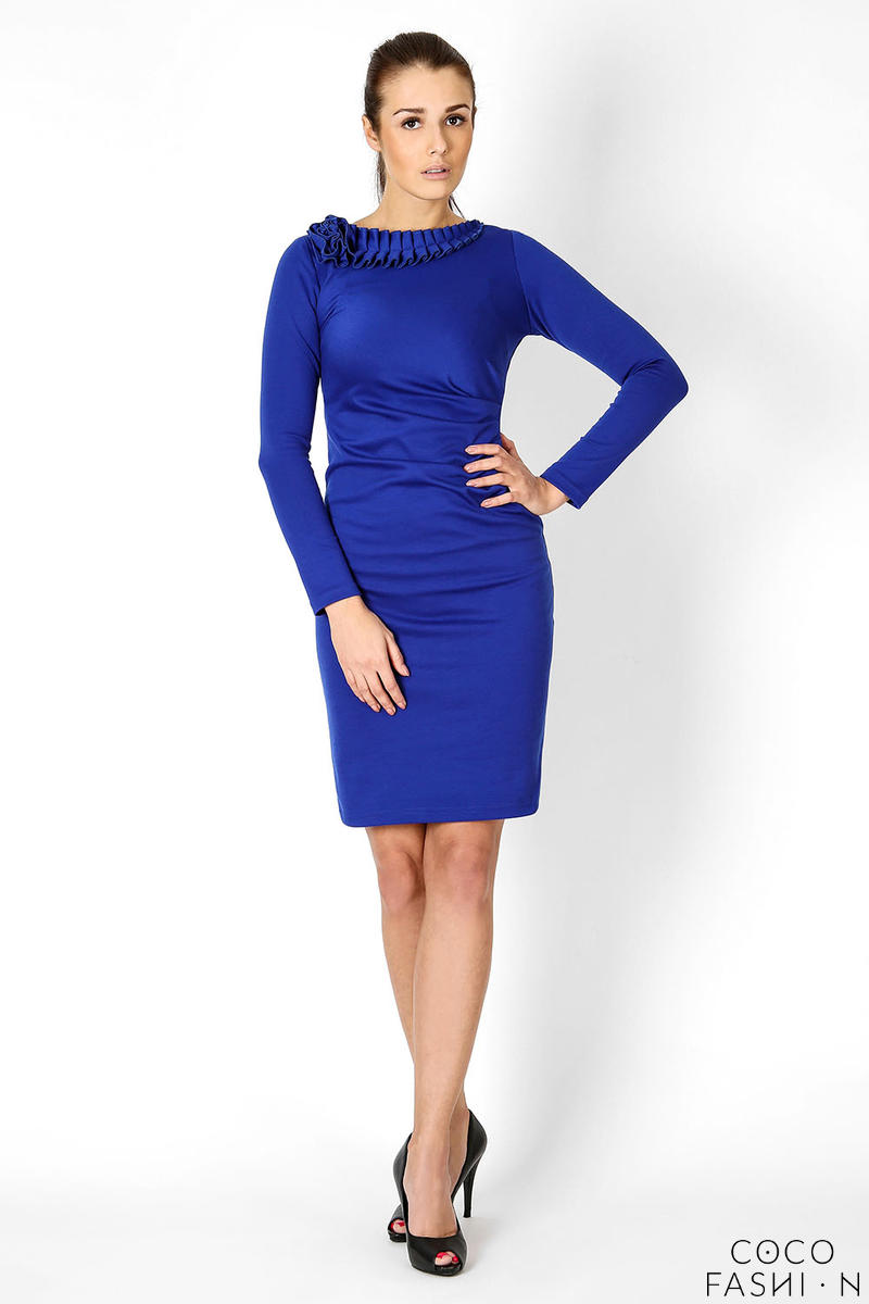 Blue Elegant Dress with Gorgeous Neckline