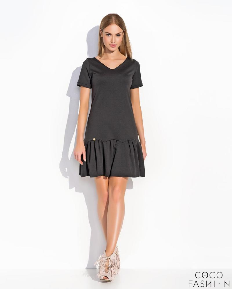 Black Casual Style Short Sleeves Dress with Frilled Bottom Part